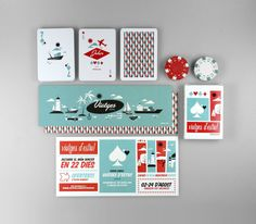 Cards - Colours; In order to announce the days that Atipus studio is on vacations and as a gift for their clients and collaborators, they illustrated a poker pack of 52 cards, with inspirations from the 50′s. This card game is within a series of traditional games (Unplugged collection) that the studio deliver since 2009 to enliven the august's vacations without relying on technology and electricity.