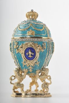 Royal Blue Egg Trinket Box by Keren Kopal Faberge by KerenKopal