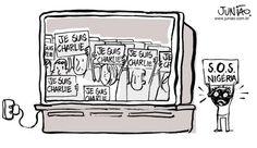 Mais de 2 mil foram mortos em cinco dias de ataques na Nigéria. Minha intenção não é comparar os atentados, e sim criticar a diferença entre a atenção que o mundo dá aos atos terroristas que vitimaram profissionais do jornal Charlie Hebdo. >  http://www.comreno.com/#!charges/c1060 www.jeffersonreporter.wix.com/blog > http://www.comreno.com/#!renda-extra/c1hmd