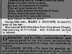 Mary J, Hobson age 23 dies 1856