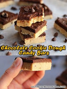 Chocolate Cookie Dough Candy Bars...healthy, delicious, and NO food processor needed! {Vegan, Nut-Free, Gluten-Free}
