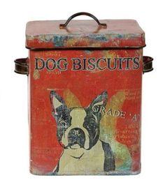 Distressed-Red-ANTIQUE-DOG-BISCUIT-CANISTER-Jar-Vintage-Box-Kitchen-Home-Decor