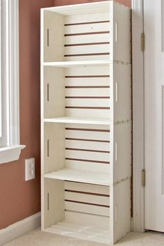 DIY shelf out of crates from the craft store...maybe 2 high and lots wide. Paint a bright color!