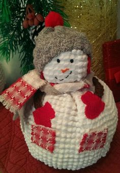 """""""Country Time"""" Snowman from The Cranberry Smuggler on eBay! Handmade Vintage White Chenille Hobnail Bedspread Snowman Christmas Decoration"""