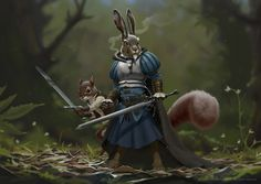 The old Hare and his disciple, Johannes Holm on ArtStation at https://www.artstation.com/artwork/EbK1A