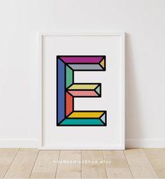 Initial Decor Nursery Initial Nursery Decor Letter E Wall   Etsy Initial Decor, Initial Wall Art, Monogram Letters, Playroom Wall Decor, Nursery Decor, Photo Frame Display, Colorful Wall Art, Printable Wall Art, Initials