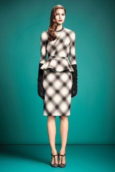 Gucci pre fall 2013 peplum, plaid 2pc dress. This is just...wow. Definitely would need to be brave to wear this!