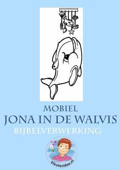 Jona in de walvis, mobiel, knutselen verwerking, kleuteridee.nl,  free printable