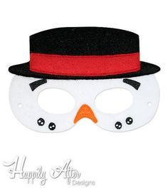 Dapper Snowman mask in the hoop embroidery design to stitch out a great costume mask with! Load this in the hoop mask embroidery design into your embroidery machine and stitch it out entirely in the hoop from start to finish! Xmas Pictures, Xmas Pics, Dinosaur Mask, Image Chart, Printable Masks, Barnyard Animals, Embroidery Scissors, Animal Masks, Mask Design