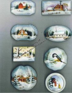 Mini Winter Scenes Painted Porcelain, China Porcelain, Hand Painted Ornaments, China Plates, Christmas Paintings, China Art, Painting Lessons, China Painting, Winter Scenes