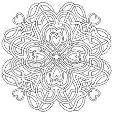 "Mandala Geometrics To Print And Color | Digital Mandala ""Four of Hearts"" - Print & color for a DOLLAR - Hand ..."