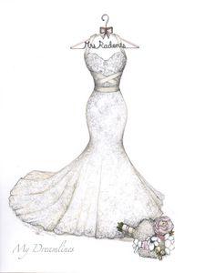 Fashion week Dress wedding on hanger drawing photo for lady
