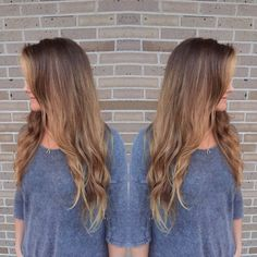 Balayaged ombré. V Shaped Haircut. #bronde #balayage #ombre #hair #curls #longhairdontcare #hairstyles #haircolor