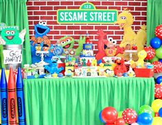 The Chic Partique's Birthday / Sesame street - Liam's Sesame Street Party at Catch My Party Elmo First Birthday, 1st Birthday Party Supplies, Boy Birthday Parties, Birthday Ideas, Sesame Street Decorations, Sesame Street Centerpiece, Sesame Street Birthday Cakes, Sesame Street Party, Elmo Party