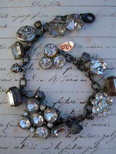 Vintage Rhinestone Button Bracelet #11