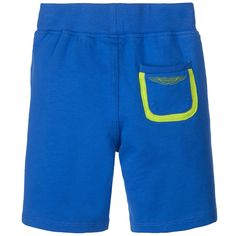 Baby boys blue Aston Martin shorts with two front pockets. Soft and lightweight, they are made in a sweatshirt cotton jersey. The comfortable elasticated waistband can easily be pulled over a nappy for easy dressing and changing. They have a logo printed back pockets with bright green trim.<br /> <ul> <li>95% cotton, 5% elastane (soft sweatshirt jersey)</li> <li>Machine wash (30*C)</li> <li>Elasticated waistband </li> </ul>