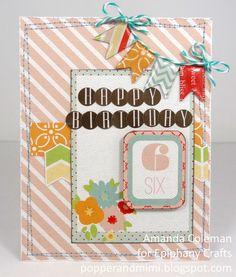 Card made with the #epiphanycrafts Shape Studio Tool Pennant. www.epiphanycrafts.com #echopark #helmar #scrapbook #birthday