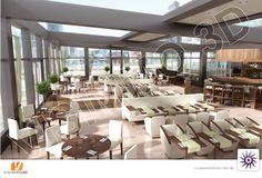 Perspective de l'intérieur d'un grand restaurant du quartier des affaires de la Défense.