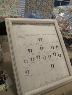 Another great baby shower game idea, would need a little feet stamp though to make it more suited to a baby shower