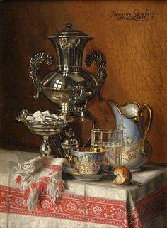 Lamberger, Henriette 1859 Troppau - nach 1900 Wien Stillleben mit Silbersamowar. Signiert. Datiert — Gemälde