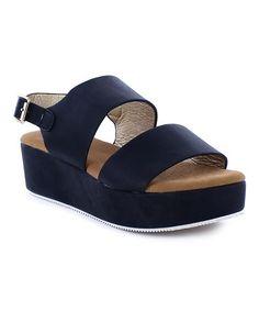 Another great find on #zulily! Black Italy Platform Sandal #zulilyfinds