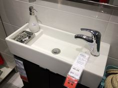 IKEA lillangen sink 23 5/8x10 5/8x5 1/2 . Maybe something like this for basement bathroom. It's so tight with the layout.