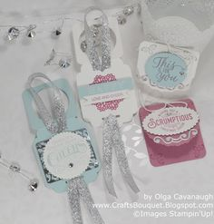 Crafts Bouquet: Stampin'Up! Cheerful Tags made with Frosted Medallions and Tin of Tags.