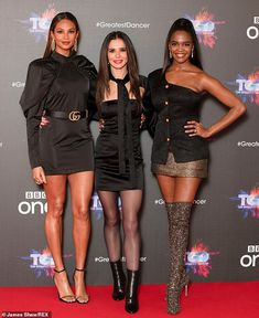 Here come the girls: At the event, the former X Factor star posed alongside (L-R) show presenter Alesha Dixon and fellow judge Oti Mabuse Mode Outfits, Sexy Outfits, Alesha Dixon, Pantyhose Outfits, Pantyhose Legs, Girls Aloud, Killer Legs, Seductive Women, Cheryl Cole