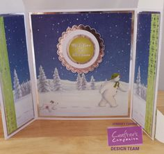 Crafters Companion Snowman/Snowdog Pop Out Card Cut up and turned into a Gatefold - inside view 6x6 papers