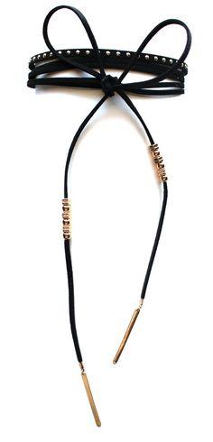 Rock Stud Choker Necklace Set- Black
