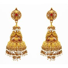 the quintessential Indian gold jhumka earrings to make any traditional attire complete. Exquisite handwork.