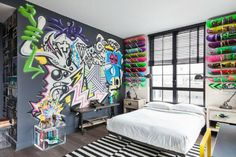 Teen Room Ideas, Grey, Graffiti, White Bed, Skateboard Walls