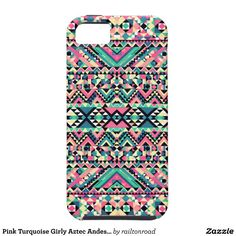 Pink Turquoise Girly Aztec Andes Tribal Pattern iPhone 5 Cases