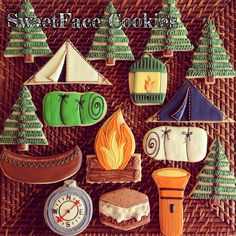 Camping Photography Washington Usa Fabulous camping cookies from SweetFace Cookies Summer Cookies, Fancy Cookies, Iced Cookies, Cute Cookies, Cookies Et Biscuits, Cupcake Cookies, Cupcakes, Washington Usa, Washington Camping