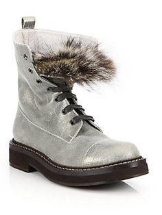 Brunello Cucinelli Metallic Leather Fur-Trimmed Combat Boots