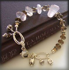 Rose Quartz Bracelet with Smokey Quartz , Chunky Artisan Bracelet