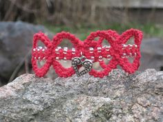 Heart Charm Red Hemp Beaded Bracelet by Jenstylehemp on Etsy