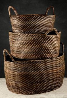 "Set of Three (21"",18"" & 16"" ) Rattan Indonesian Baskets with Handles $79"
