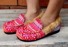 Cozy Mocassin Style Womens Slippers Ethnic Hmong  by SiameseDreamDesign,  #gifts #womens #slippers #ethnic
