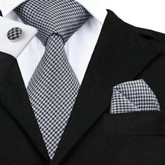 2018 Fashion Silk Jacquard Tie Black White Novelty Tie Hanky Cufflink Set Business Wedding Party Ties For Men corbatas par Price history. Novelty Ties, Cufflink Set, Men Formal, Tie And Pocket Square, Pocket Squares, Well Dressed Men, Classic Man, Business Fashion, Mens Suits