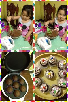 Even 3 year olds can bake. Look at this mini master baker at work.  With the Smart Planet Mini Cupcake Maker, baking is super easy for kids.  Click LIKE for mini masterpieces..
