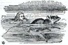 Alice in a sea of tears. (illustration to the second chapter of Alice in Wonderland) by John Tenniel. Wood-engraving by Thomas Dalziel.