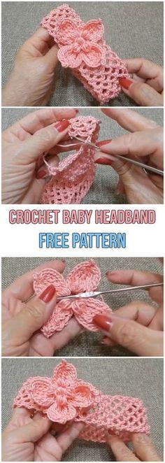 Baby Knitting Patterns Headband Crochet Baby Headband Free Pattern b. Crochet Baby Clothes, Crochet Baby Hats, Crochet For Kids, Baby Blanket Crochet, Crochet Shoes, Baby Knitting, Free Knitting, Simple Crochet, Crochet Beanie