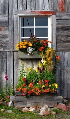 The variety of flowers make the old wood pop - nice rustic look Whimsical Raindrop Cottage