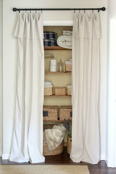 Closet Door Alternatives Ideas creative closet door alternatives Closet Door Alternative Easy Drop Cloth Curtains
