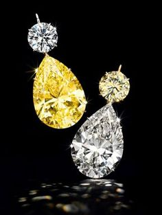 Diamond pear pendants with 52.78-carat and 50.31-carat pear-shaped diamonds…