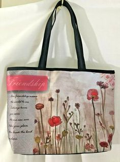 Womens Friendship Tote Handbag Red Floral with Friendship Poem Soft Nylon Bag #Petals #Tote #Casual