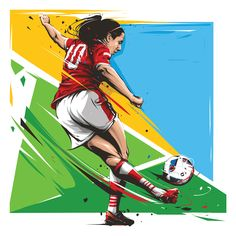 10 football gestures illustrations for postage stamps, which La Poste issued on the occasion of Euro 2016.
