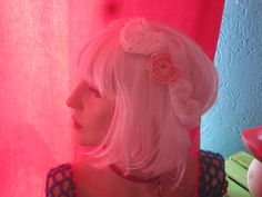 #Selmade Miss Chaos..  #Chrochet Big Hearts White Pastel Pink Headband