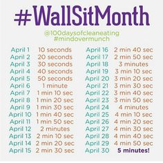 Wall sit monthly challenge- Pretend its this month... or any 30 days!